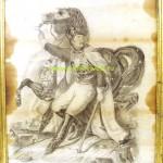 Солдат с лошадью конем подпись карандаш пятна 1875 61x46 см