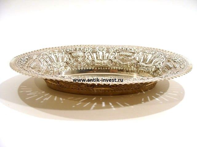 блюдо серебряное вес 406 грамм 36 на 26см интернет аукцион антиквариата