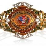браслет золотой старинный с эмалью бриллиантами платина интернет аукцион антиквариат