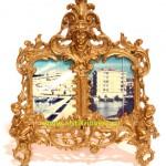бронзовая рамка двойная портретная 36 на 29 см продажа антиквариата