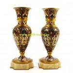 бронзовые вазы парные в технике шамплеве Франция высота 20 см подставка оникс