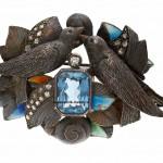 брошь серебряная барселона шпинель эмали 1890-1972 интернет аукцион антиквариата серебро с брилдлиантами