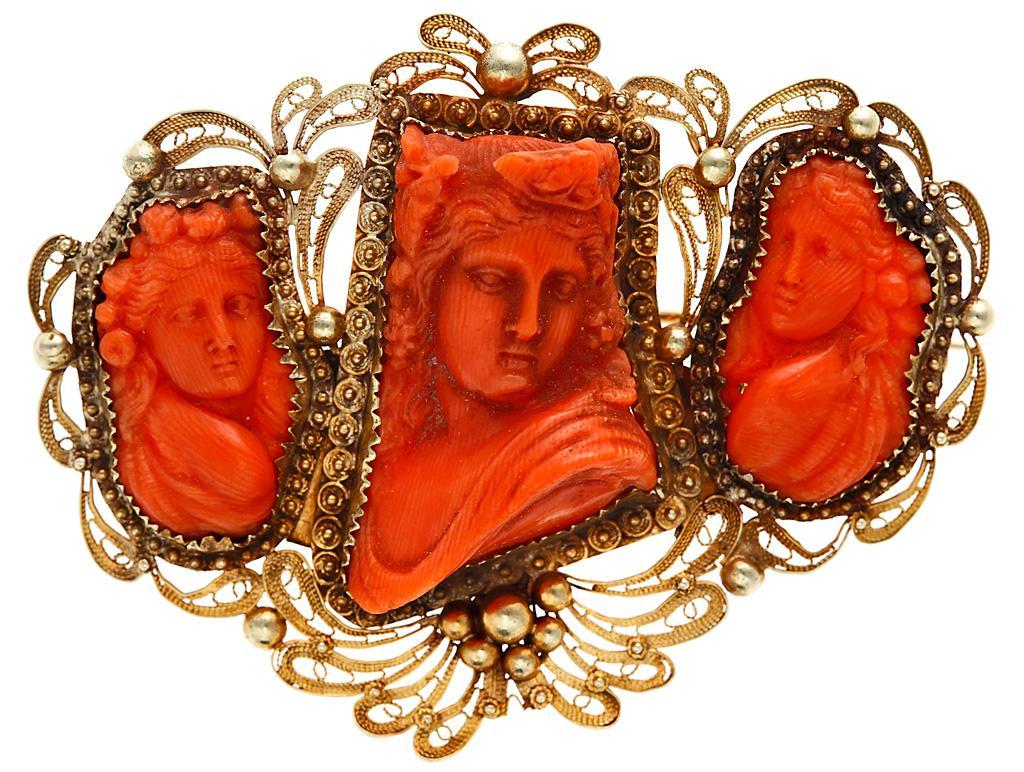 интернет аукцион антиквариата antik-invest брошь серебряная с позолотой вставки красный коралл резьба филигрань