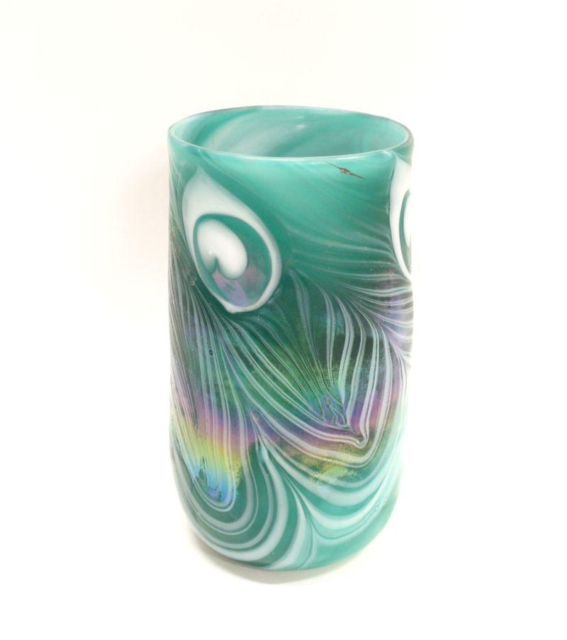 ваза начало 20 века стекло паста высота 15,5 см подпись J. Oltchfield старт 120 евро