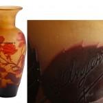 ваза D´Argental 1910-1920 стекло подпись 25 см