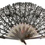 веер старинный 19 век под черепаху серебрение и позолота тюль интернет аукцион антиквариата торги