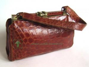 винтажная кожаная сумка из натуральной кожи крокодила
