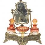 продажа антиквариата дамский туалетный набор для туалетного столика бронза стекло 19 век