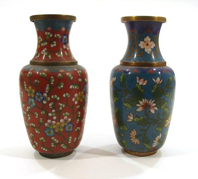 две парные китайские вазы горячие эмали клуазоне высота 17 см купить антиквариат