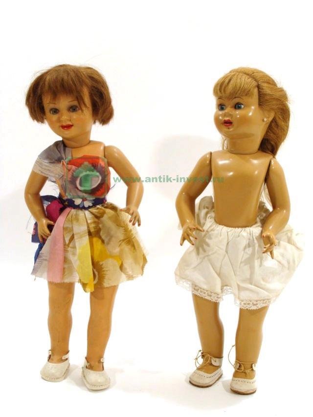 две испанские куколки целлулоидная и картон пропитка 49 см