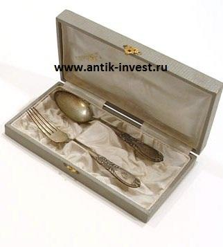 детский серебряный набор ложка вилка в футляре Эгоист