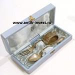 детский серебряный набор, ложка вилка кольцо в футляре Эгоист