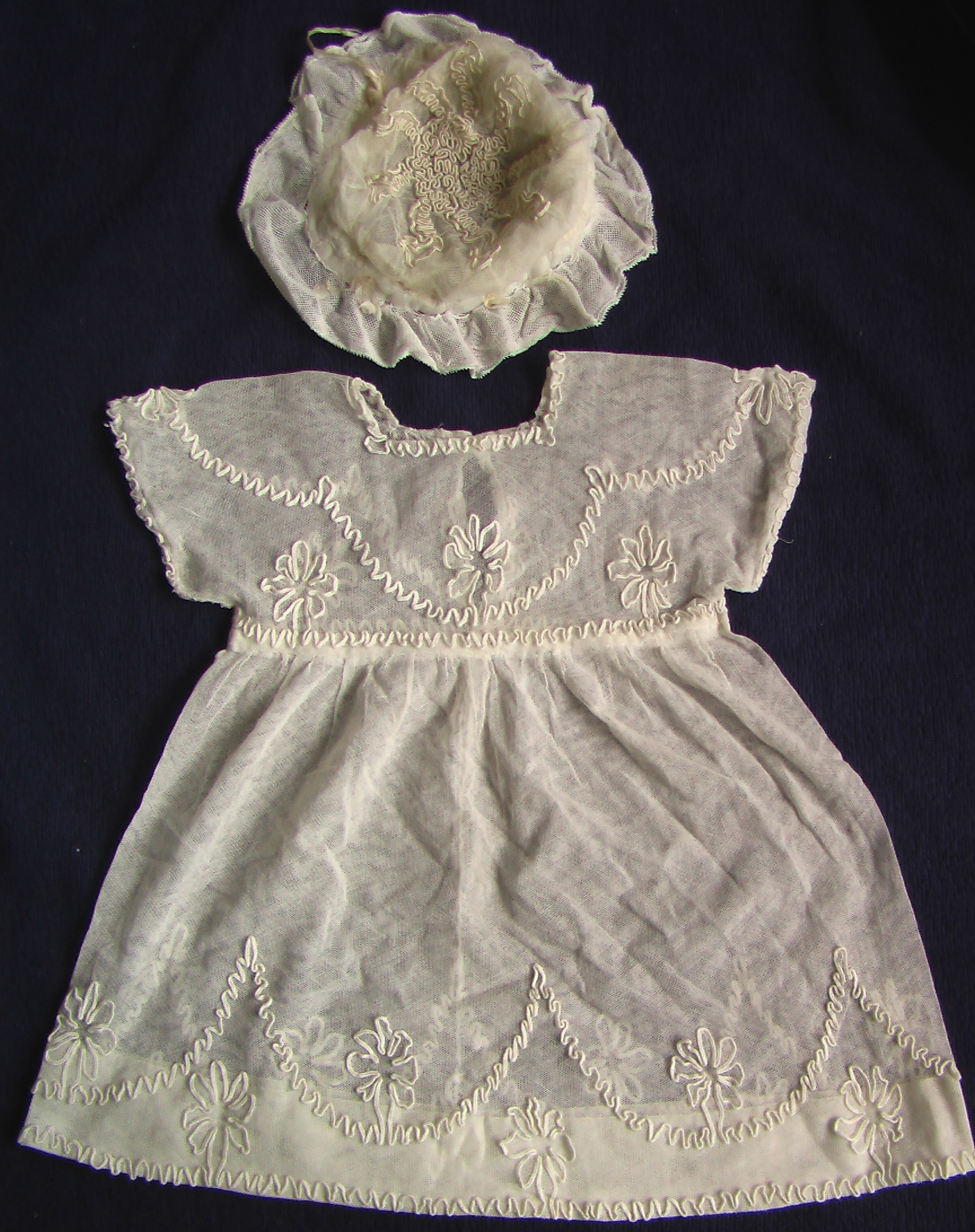 ДЕТСКОЕ кукольное платье ШЛЯПКА чепец кружева 19 в