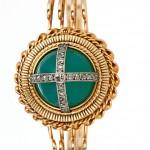 женские механические золотые  часы Omega с бриллиантами