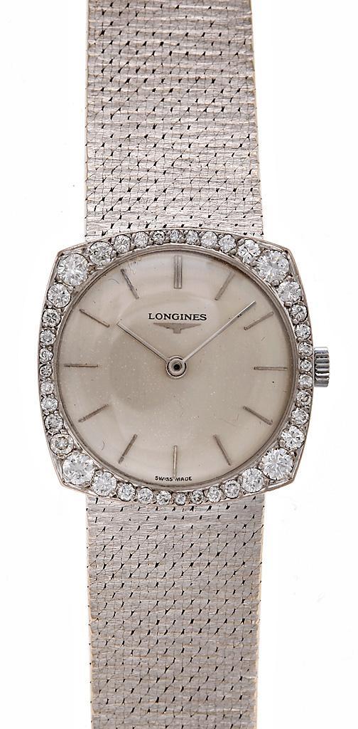 женские кварцевые адаптированные часы Longines с бриллиантами