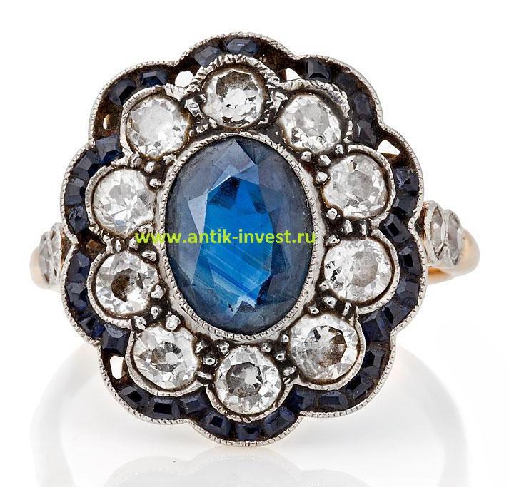 золотое кольцо Малинка 1910 -годы с сапфиром и бриллиантами продажа антиквариата купить кольцо старинный перстень