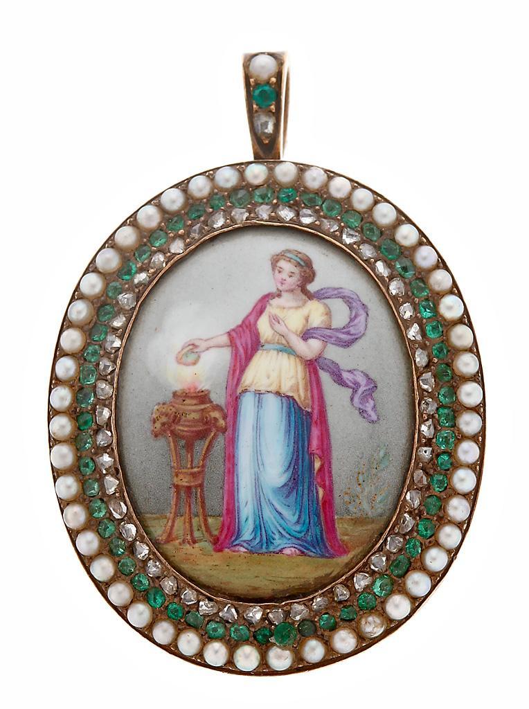 золотой кулон подвеска начала XIX с жемчугом эмали изумруды и бриллианты