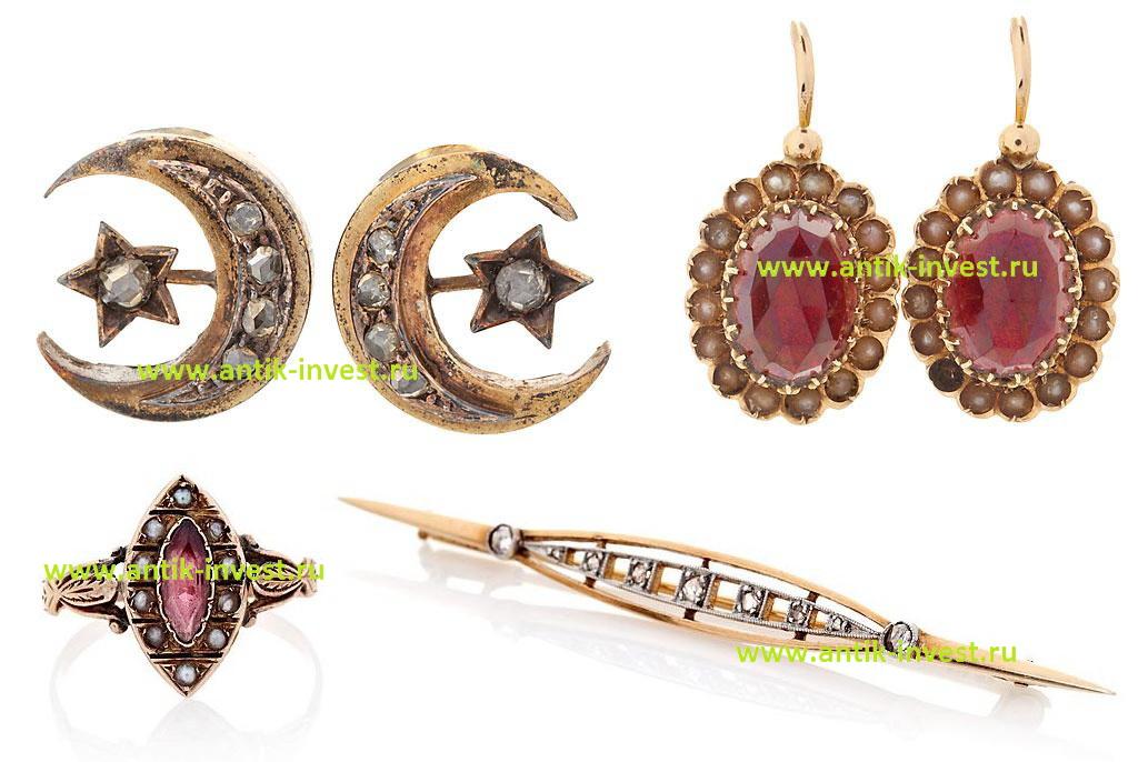 золотые серьги малинки золотое кольцо маркиза с турмалином