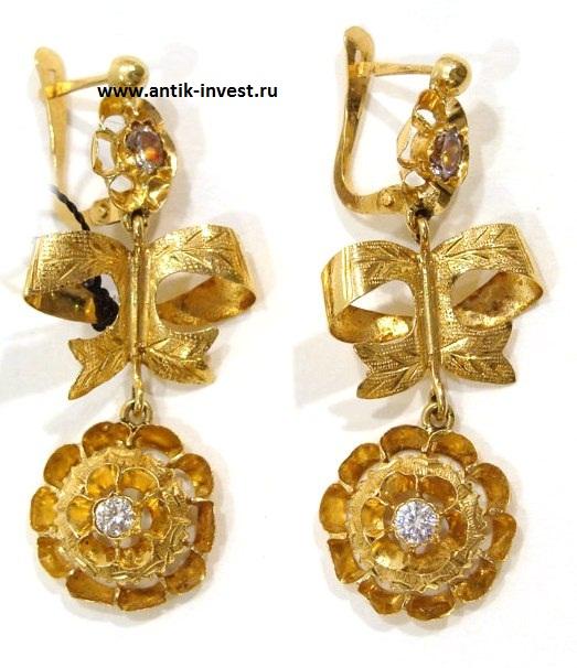 золотые серьги с камнями, золото 18 карат