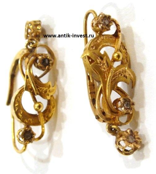 золотые серьги 18 карат желтое золото с бриллиантами интернет аукцион антиквариата