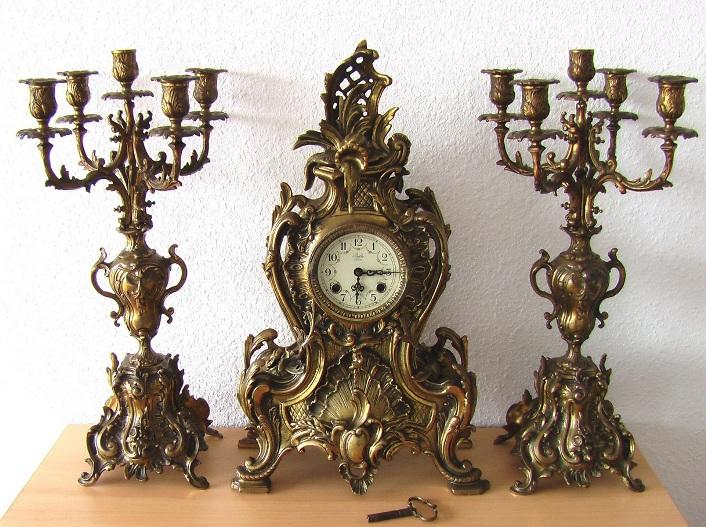 каминный гарнитур часы с боем и парные пятирожковые канделябры