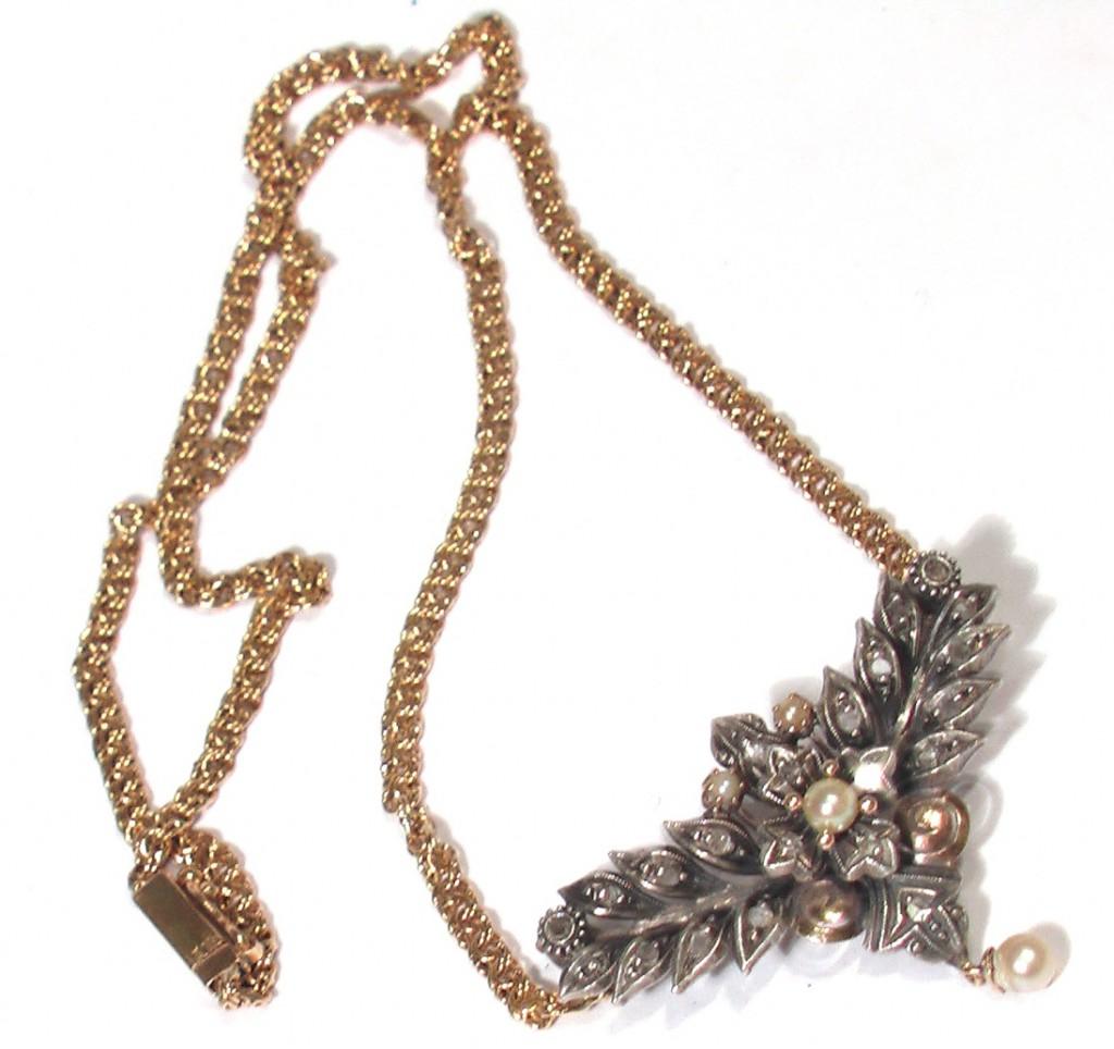 КОЛЬЕ золотое 18К 750 с бриллиантами жемчугом