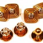 комплект золотые запонки с бриллиантами и пуговицы