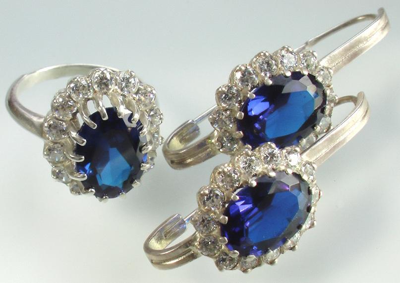 серебро с сапфиром кольцо и серьги