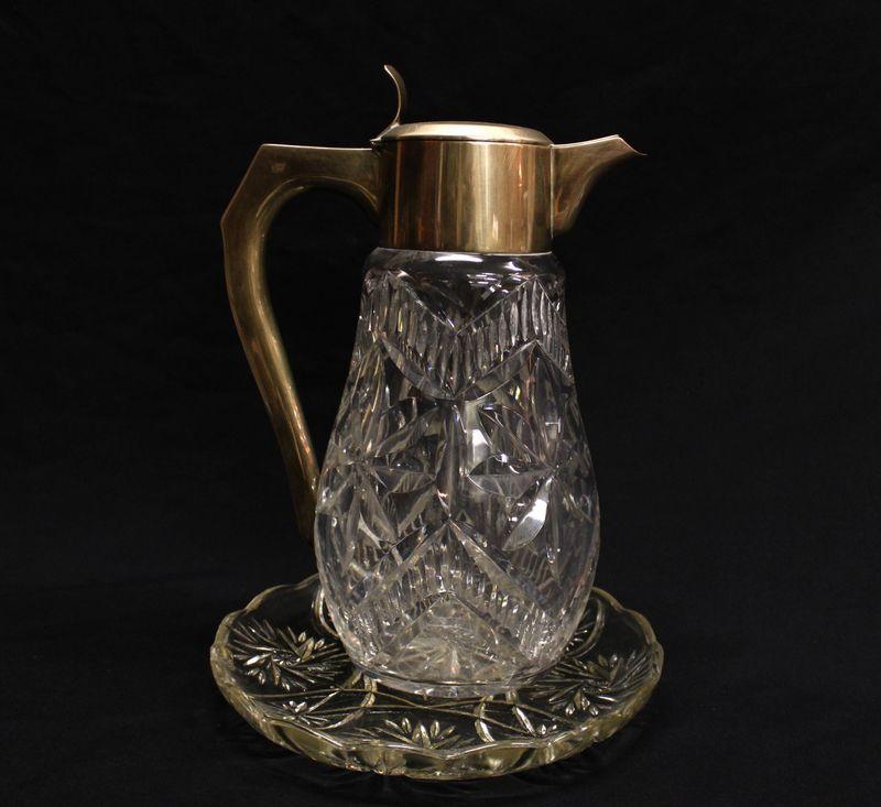 кувшин для воды или вина хрусталь алмазная грань серебро 916 проба, старт 120 евро