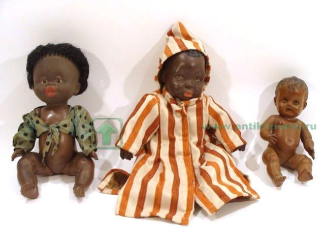кукла негритенок 3шт резина керамика тело тряпочное 34 см