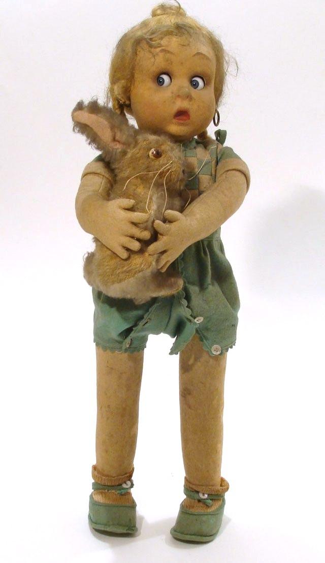 Редкие и дорогие ( около 700 долларов) фетровые куклы Ленчи ( Lenci) начала 20 века