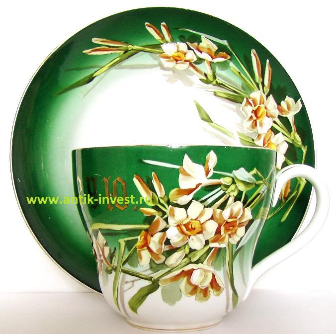купить антикварную посуду чашка блюдце кузнецовские чайная пара Кузнецов