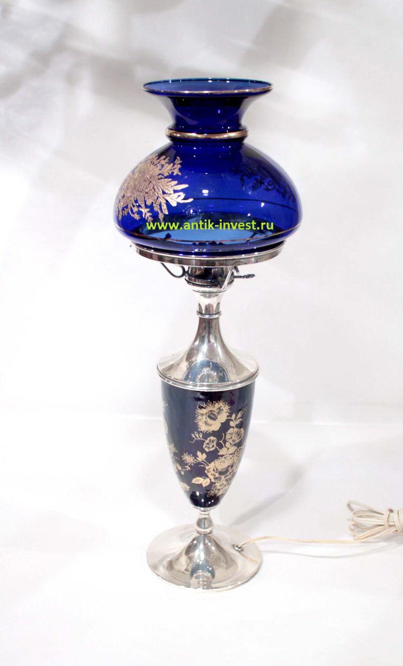 лампа настольная начало 20 века серебро синее стекло