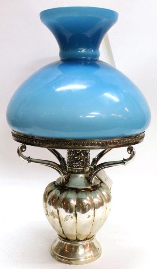 лампа основание серебро высота 45 см опаловое стекло