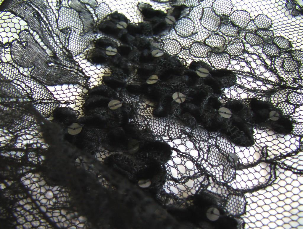 мантилья кружевная с бархатной лентой и блестками 60 на 130 5