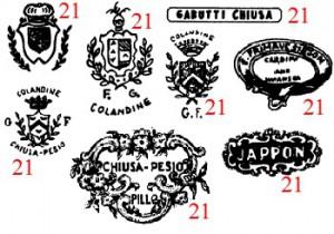 марки и клейма итальянская керамика PIEMONTE