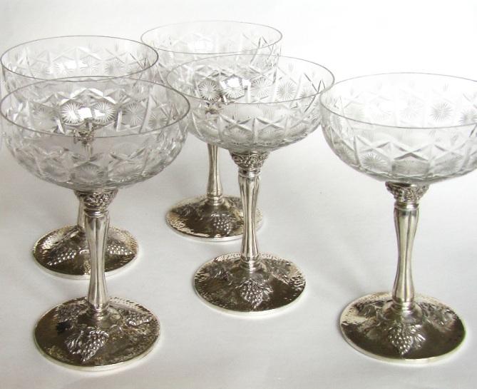 купить подарок новый год набор хрустальные фужеры под шампанское серебро