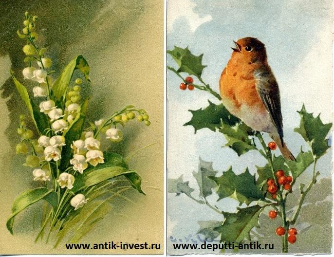открытки с цветами и птицами