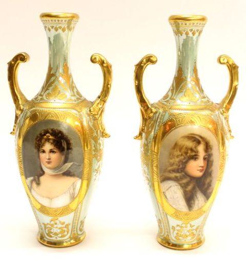 парные вазы Австрия 22см