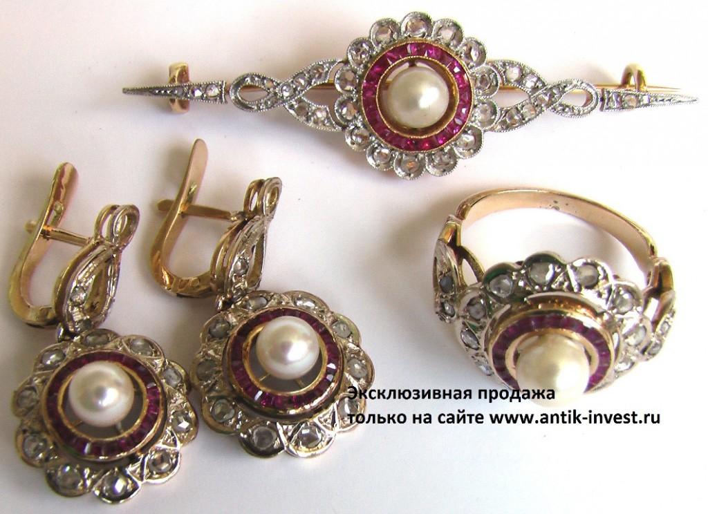 парюр комплект брошь серьги перстень золото 750 проба с бриллиантами жемчугом рубинами