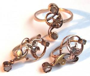 парюр старинный гарнитур комплект серьги с кольцом золотой