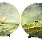 диаметр 43 см живопись на фарфоре подпись плакетки аукцион антиквариата