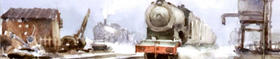 поезд 29 на 39 см старт 1000 евро акварель продано