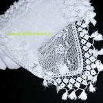 покрывало белое вязаное крючком 216 на 210 см с кисточками