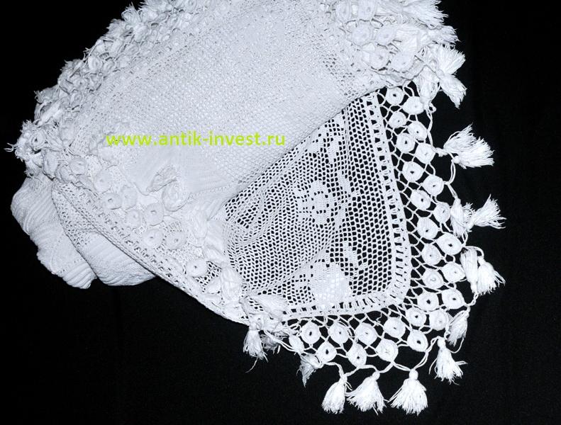 покрывало белое вязаное крбчком 216 на 210 см с кисточками