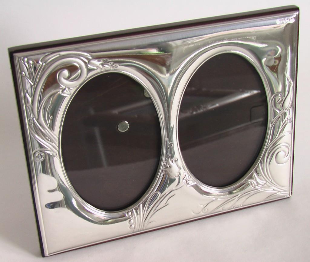 СЕРЕБРО рамка для фото двойная серебряная Арт-Деко