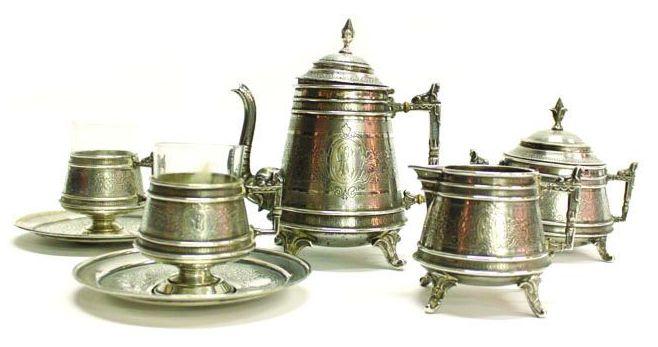 сервиз серебряный в русском стиле 780 гр высота 15 см интернет аукцион торги антиквариат