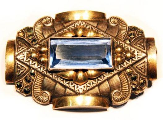 серебряная брошь арт-деко с позолотой голубая шпинель и марказиты аукцион антиквариата