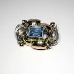 серебряная брошь с золотыми накладками 18 карат 750 проба голубой камень марказиты 1940 годы