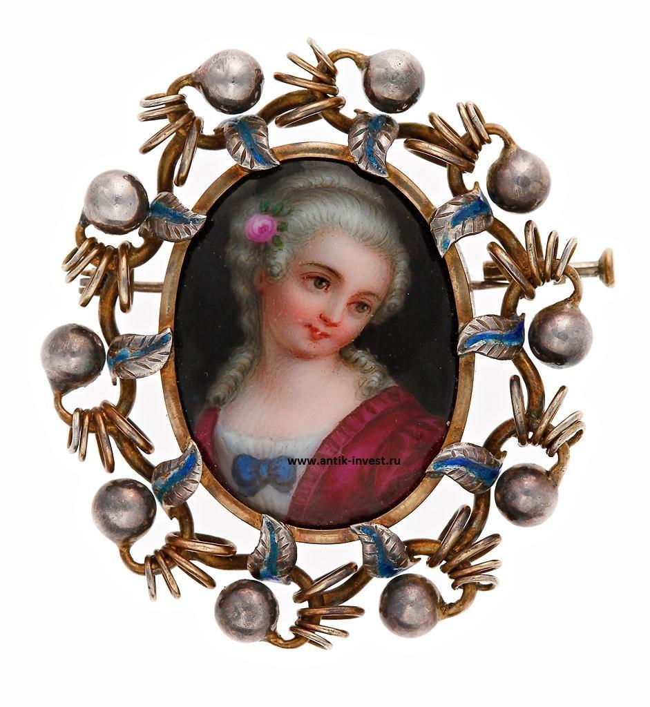 серебряная брошь с портретом дамы эмаль интернет аукцион антиквариата